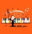 man singing song with piano keyboard and notes vector image