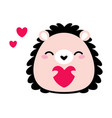 prickly hedgehog holding heart as valentine day vector image