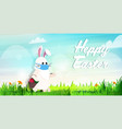 rabbit wearing mask to prevent covid-19 vector image vector image