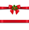 red bow with holly berry isolated white background vector image