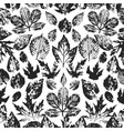 seamless autumn pattern with leaves hand drawn vector image