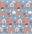 seamless pattern with winter houses for christmas vector image vector image