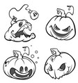 set of back and white scaring halloween pumpkins vector image vector image