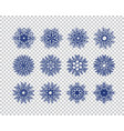set of blue snowflakes icon on transparent vector image vector image