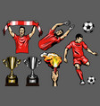 set of soccer elements and players vector image vector image
