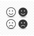 set smile and sad icon simple flat style vector image