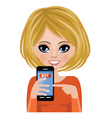 Smiling woman advertizes mobile payment vector image vector image
