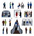 Subway passengers flat icons collection vector image vector image