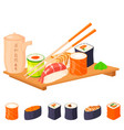 sushi rolls food and japanese gourmet vector image vector image