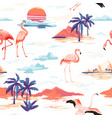 tropical island flamingo seamless summer pattern vector image vector image