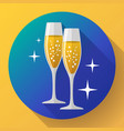 two glasses champagne icon with sparkles vector image