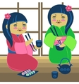 two japanese girl vector image vector image