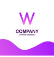 w company logo design with purple theme vector image
