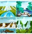 Waterfall Landscapes 2x2 Design Concept vector image vector image