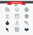 web icons set with cloud group browser and other vector image