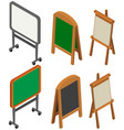 whiteboards and blackboards in 3d design vector image