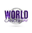 world cancer day background with purple ribbon and vector image