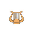 yellow lyre icon - harp like string music vector image