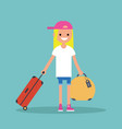young teenage girl travelling with her luggage vector image vector image