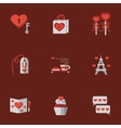 Love flat icons on red vector image
