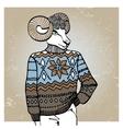 Cartoon sheep in Jacquard sweaterWinter fashion vector image