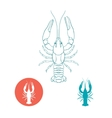 Crayfish silhouette and flat icon vector image