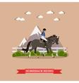 Girl horseback riding flat design vector image