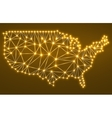 Abstract polygonal map USA with glowing dots and vector image vector image