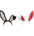Black and white rabbit ears mask vector image vector image