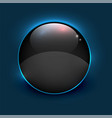 black shiny mirror circle frame on blue background vector image vector image