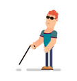 blind man with wand vector image