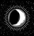bohemian hand drawn moon vector image