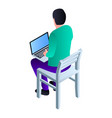 boy sit on chair icon isometric style vector image vector image