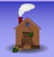 building of wooden sauna vector image
