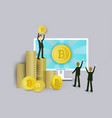 businessmen computer and stacks of bitcoin coins vector image