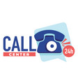 call center 24 hours hotline or helpdesk banner vector image vector image