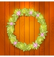 Cartoon wreath on wood wall background vector image