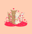 cats in love hug each other postcard vector image