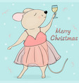 christmas greeting card cute mouse with a glass vector image vector image