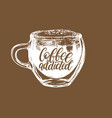 coffee addicted handwritten phrase drawn vector image