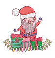 cute christmas santa claus with gifts presents vector image vector image