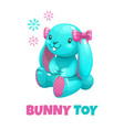 cute funny textile bunny girl toy icon vector image vector image