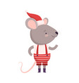 cute mouse dressed up in christmas santa claus vector image