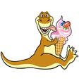 dino eating ice cream vector image
