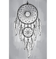 Dream catcher with feathers in line art style vector image