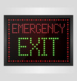 emergency exit led digital sign vector image
