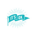 flag it is ok old school flag banner with text it vector image