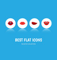 flat icon lips set of teeth smile kiss and other vector image vector image