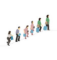 flat people with bag walked up the stairs vector image