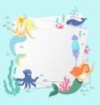 greeting banner on marine theme cute mermaids vector image vector image